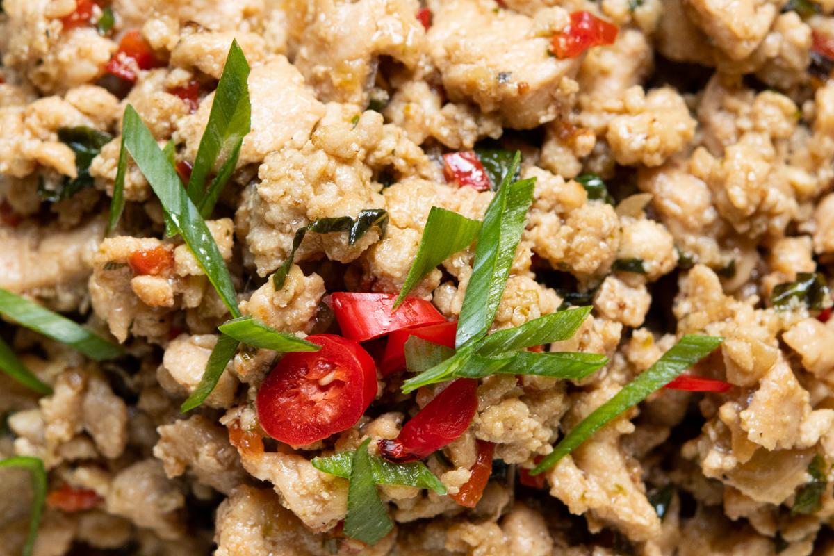 Frango thai moidinho delicioso